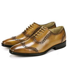 Brand Men's Handmade Pointed Toe Lace Up Cowhide Business English Suit Leather Shoes Hand-Carved Leather Dress Brown Men's Shoes(China)