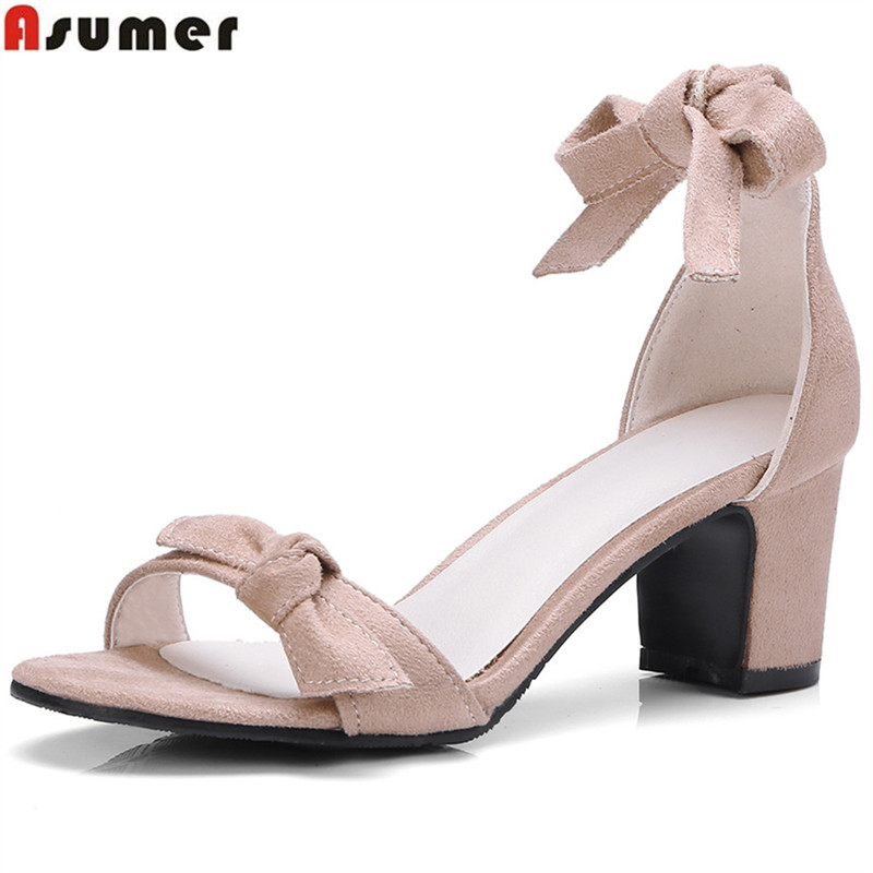 ASUMER 2018 fashion summer shoes woman square heel ankle strap elegant prom wedding shoes flock sandals women big size 33-43 xiaying smile summer woman sandals square cover heel woman pumps buckle strap fashion casual flower flock student women shoes