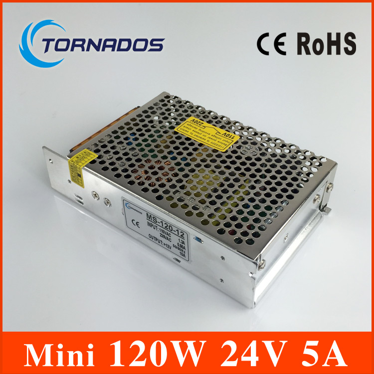 Small 120W DC 24V 5A Switching Power Supply for LED Strip Light, Input 110/220VAC (No. MS-120-24 )