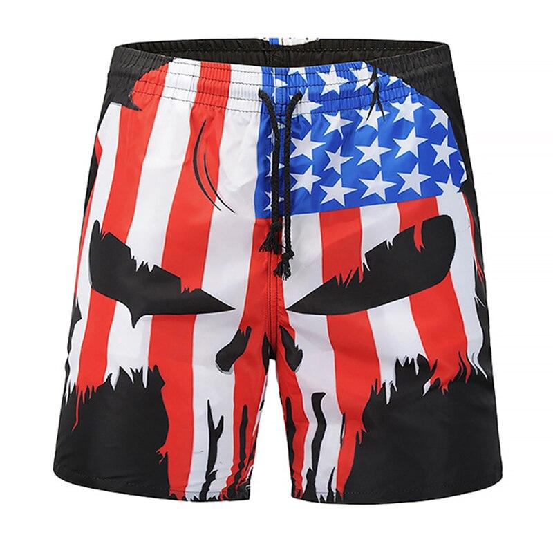 Summer Men Beach Shorts Trousers 2019 Skull Punisher USA Flag 3D Print Fashion Men's Bermuda Board Shorts Fitness Sweatpants