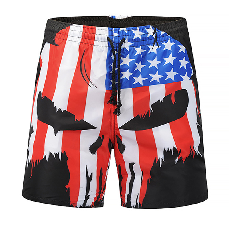 Summer Men Beach   Shorts   Trousers 2019 Skull Punisher USA Flag 3D Print Fashion Men's Bermuda   Board     Shorts   Fitness Sweatpants