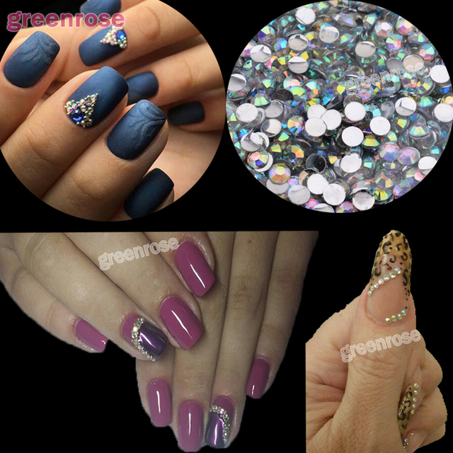 Abalone Colorful Resin Nail Rhinestones Jelly Nail Art 1000PCS 2mm ...