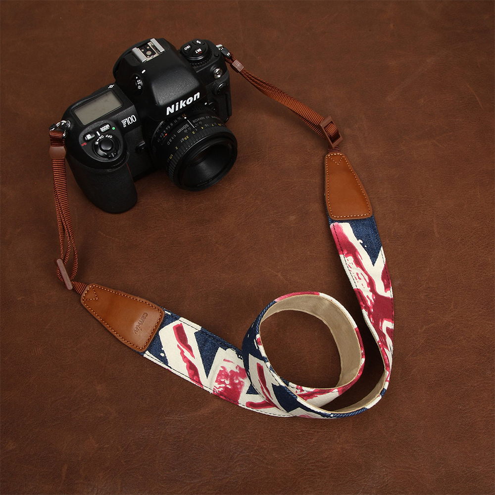 cam-in cs050 7157 7158 Jean Cow Leather Universal Camera Strap Neck Shoulder Carrying Cotton Cloth General Adjustable Belt