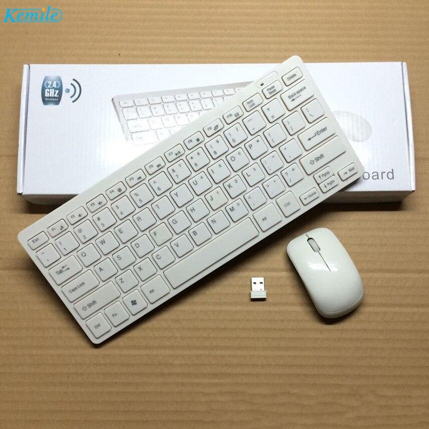 Kemile 2.4G Mini Clavier Sans Fil et Souris Optique Combo Noir/pentecôte pour Samsung Smart TV De Bureau PC