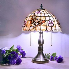 Средиземноморский тиффани свет европейский спальня настольная лампа ночной освещение 12 дюймов сакура бабочка оболочки настольная лампа
