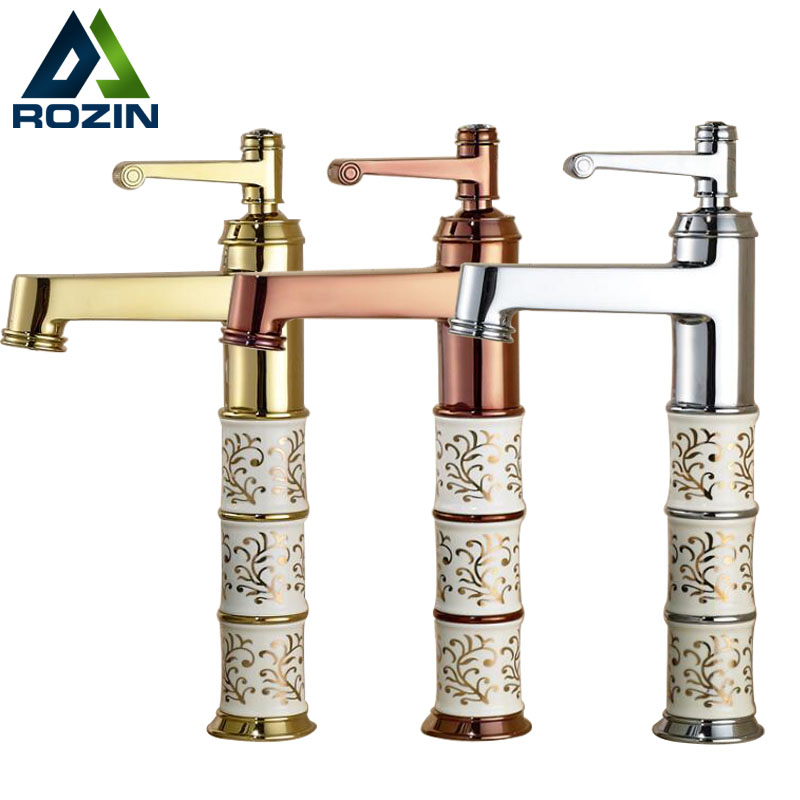 Elegant Golden Ceramic Basin Faucet Bathroom Single Handle Tap New Washbasin Hot And Cold Mixer Tap Deck Mounted 1 Hole newest washbasin design single hole one handle bathroom basin faucet mixer tap hot and cold water orb chrome brusehd