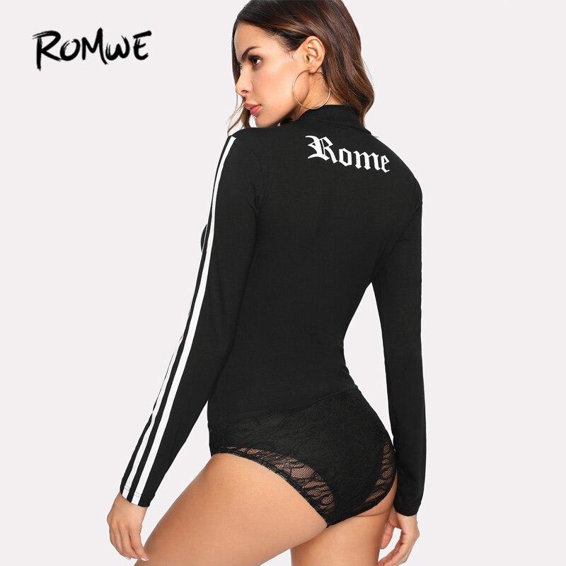 ROMWE Rayé Manches Contraste Dentelle Body Femmes Encolure Ronde Printemps Plaine Top 2018 Noir Maigre Femmes À Manches Longues Body