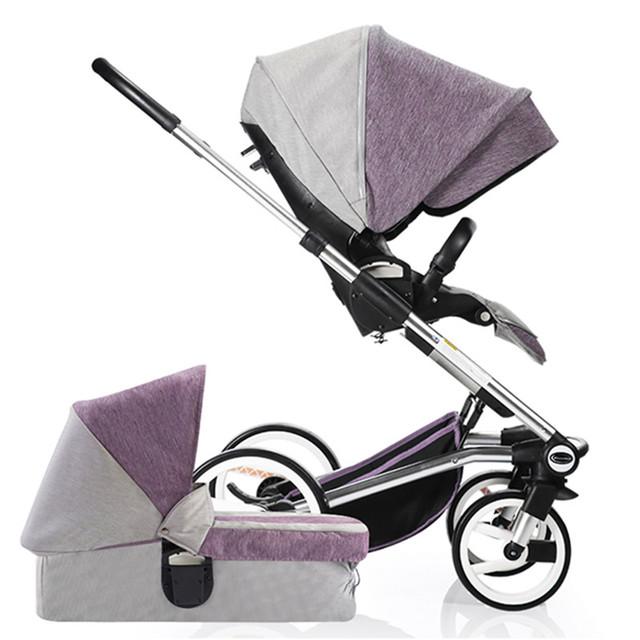 ¡ Venta caliente!! lujo Cochecito de Bebé 2 en 1 para el Bebé Recién Nacido, Cochecito Paisaje de Alta Bebé Cochecito cochecito para niños, Cochecito Cuna Sistema