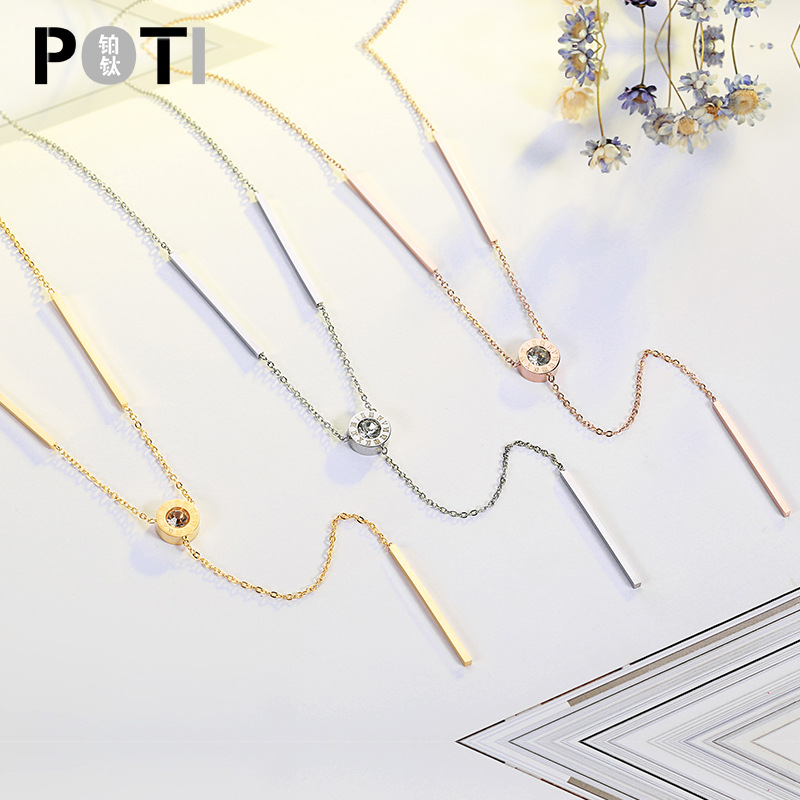 TSHOU122  Roman numerals titanium steel rose gold sweater chain clavicle not faded necklace jewelry