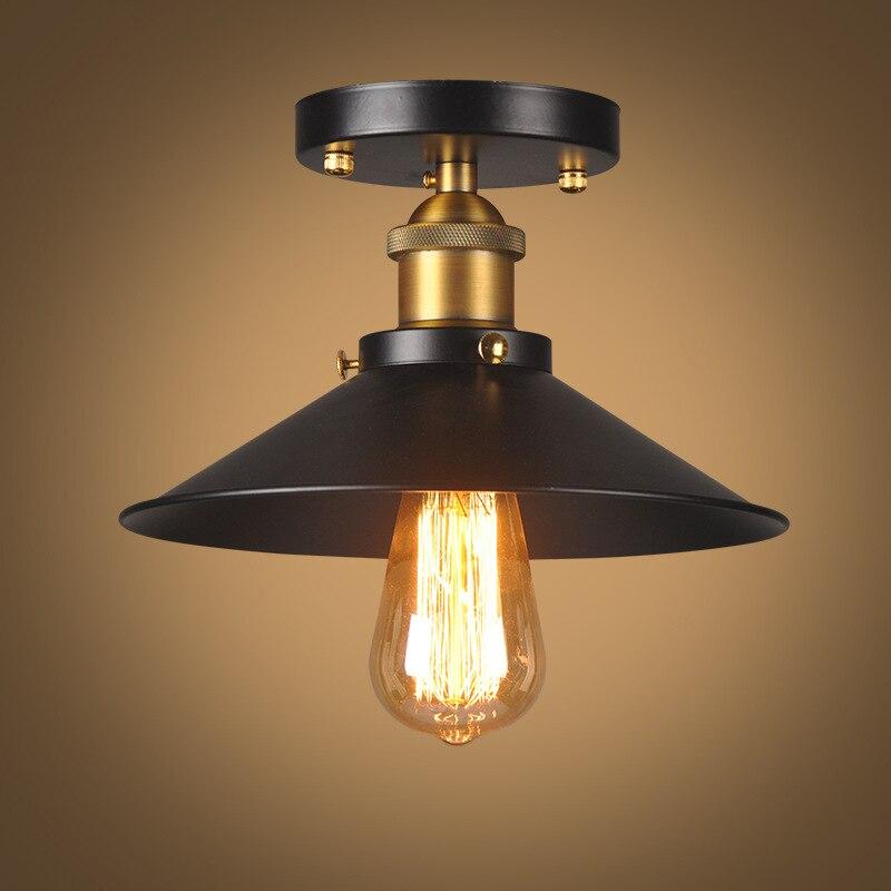 Vintage Plafonnier Noir Plafond Lampe Industrielle Montage Encastré