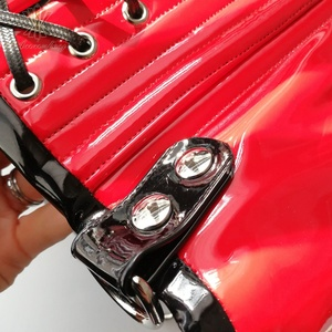 Image 5 - Annzley Cupless コルセット赤革コルセットアンダーバスト女性のウエスト痩身