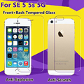 2 unids/lote front + back alta calidad de cristal templado para iphone 5 5S 5se cristal protector de pantalla resistente a los arañazos en el para el iphone 5s