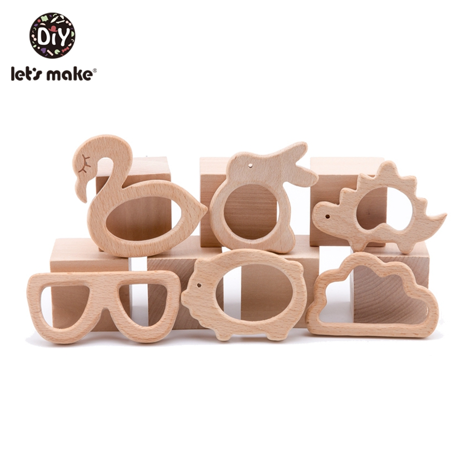 Let's Make 10pc/lot Organic Baby Wooden Teether Natural Teething Toy Baby Shower Gift Toddler Teether Newborn Baby Teether