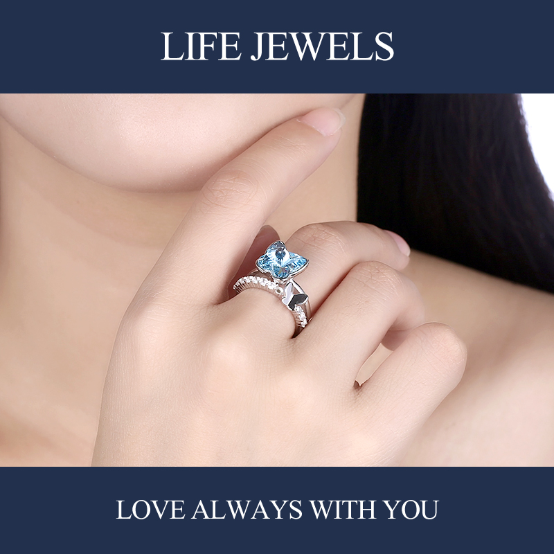 Authentic100 925 Sterling Silver Crystal Rings Zircon Charm l Women Luxury Sterling Silver Valentine 39 s Day Gift Jewelry 18138 in Rings from Jewelry amp Accessories