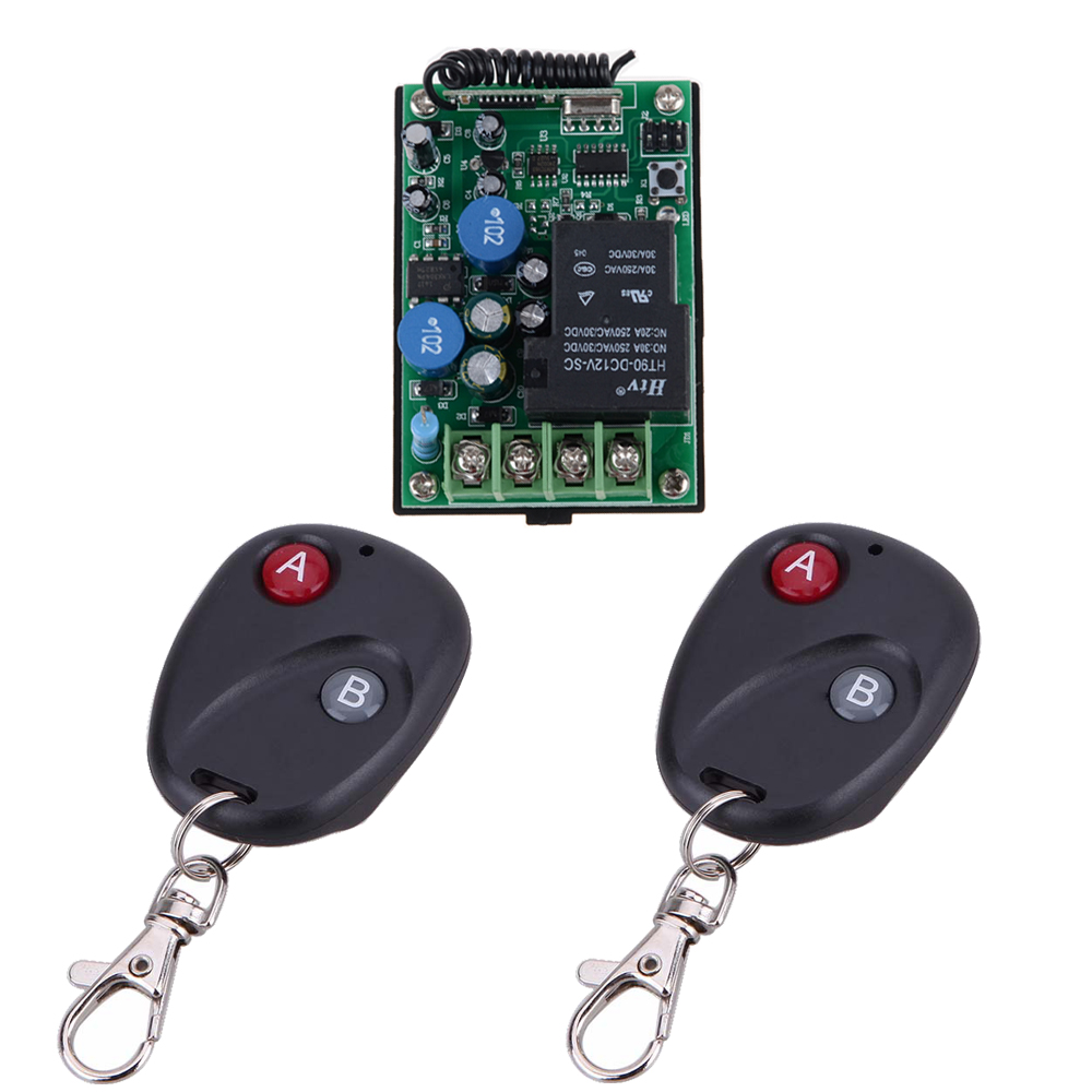 AC 220V 30A RF Wireless Remote Control Delay Time Signal Switch Multi-function Receiver With 2PCS 2-Button AB Remote Transmitter