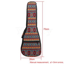 Yibuy 26 Inch Ukulele Fancy Red Pattern Double Shoulder Carry Bag Guitar Backpack Adjustment Belt & Thickened Cotton Handle