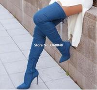 Woman Gladiator Blue Denim Over Knee Boots Bandage Slim Pointed Toe Slim Leg Long Boots Nightclub Woman Dress Pump Shoes