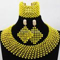 2016 Fashion Handmade African Wedding Beads Choker Necklace Set Nigerian Gold/Yellow Crystal Jewelry Set Free Shipping ALJ511