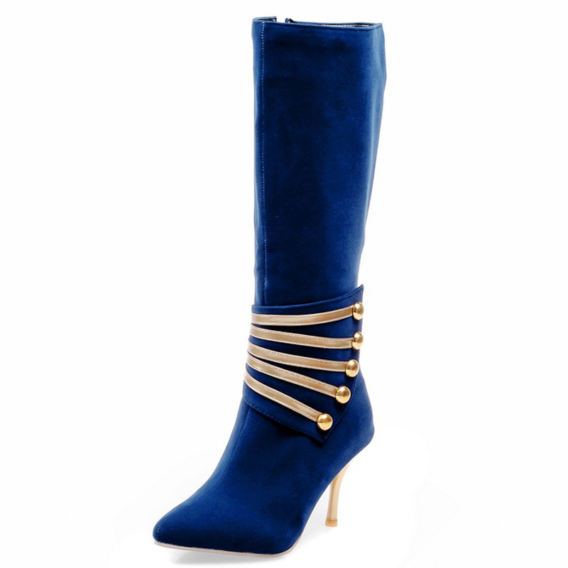 ФОТО Chinese college style sexy pointed toe knee high boots fashion color matching rivet zipper red blue high heels women ridng boots