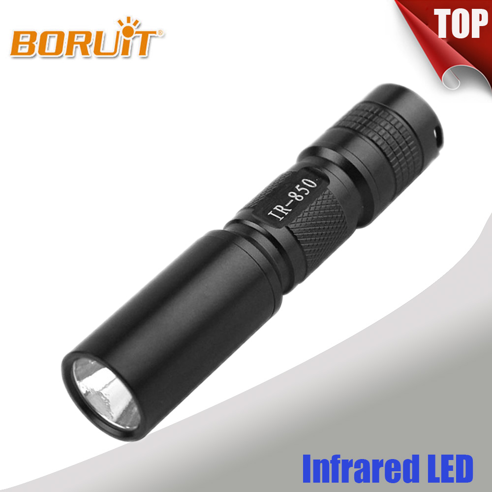 BORUIT 5W Infrared IR 850nm Flashlight 1 Mode LED Night Vision Flash Light Torch Hunting FlashLamp Lantern 1xAA/1x14500 Battery