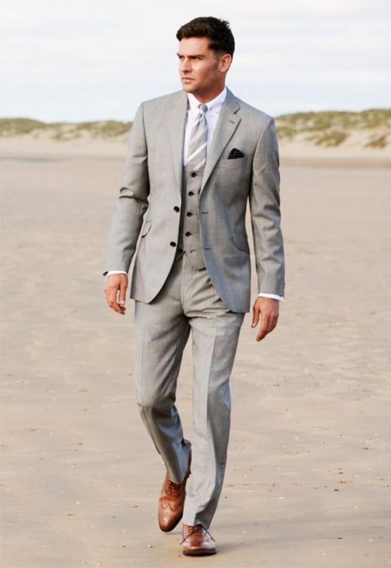 Business Grey Groom Tuxedos Best Man Slim Fit Formal Wedding Party