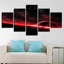 HD Printing On Canvas Frame Decor Home Bedroom 5 Pieces Red Abstract Planets And Meteor Painting Wall Art Modular Poster Picture