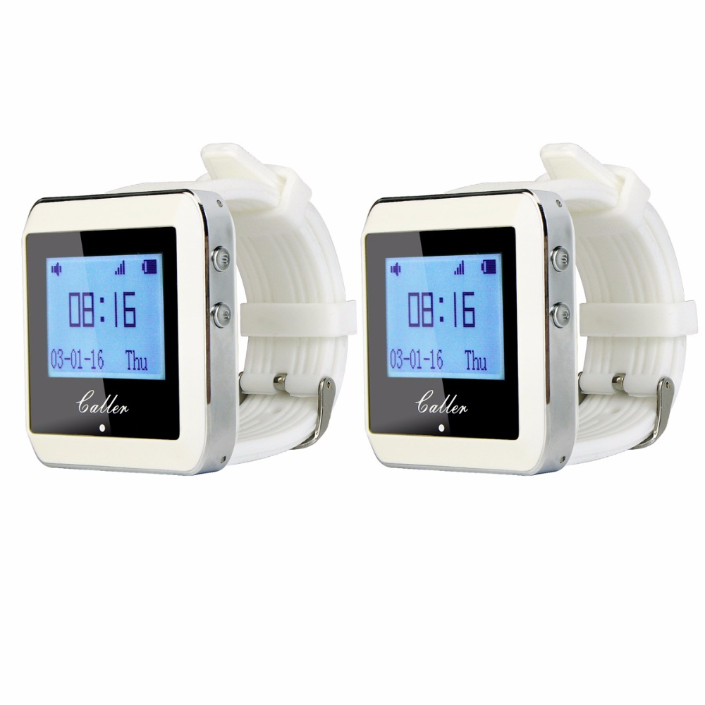 2Pcs Tivdio 999 Channel RF Wireless White Wrist Watch Receiver for Fast Food Shop Restaurant Calling Paging System 433MHz F3288B 2 receivers 60 buzzers wireless restaurant buzzer caller table call calling button waiter pager system