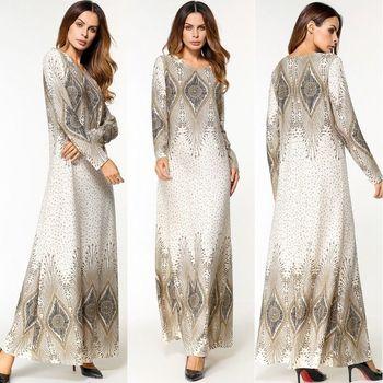 a385a7182 Dubai para las mujeres musulmanas Vestido de manga larga islámica Jilbab  Abaya de cóctel Vintage Maxi Kaftan ropa de moda