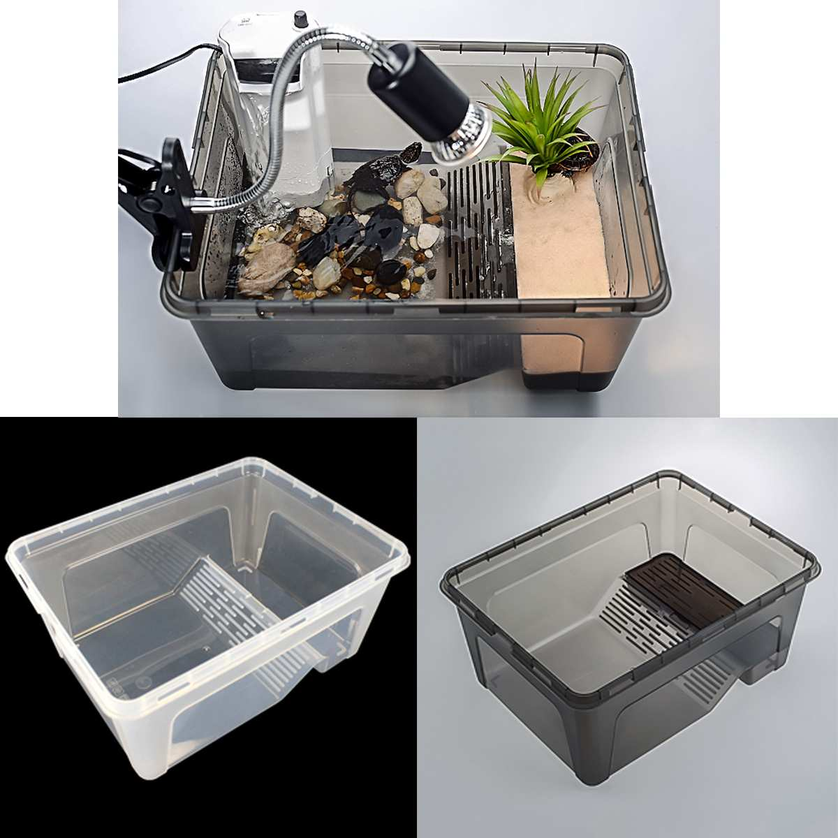 Transparent Aquarium Plastic Fish Tank Breeding Feeding Tub Isolation Box For Turtle Insect Reptile Pet Cage Terrariums Supplies