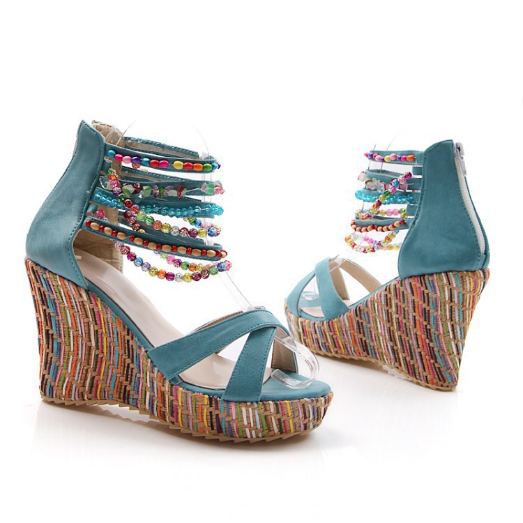 73ab15a164bb NAUSK Bohemian Women Sandals Ankle Strap Wedges Beads Ladies Platform Shoes  Plus Size Straw High Heels Sandals Female Cover Heel-in High Heels from  Shoes on ...