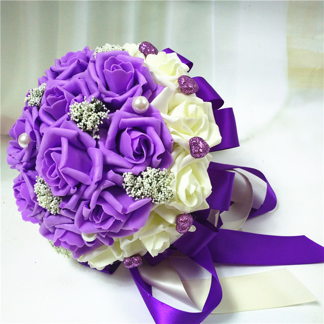 2017 Beautiful Purple Wedding Bouquet All Handmade Bridal Flower Wedding Bouquets Artificial Pearls Flower Rose Bouquet