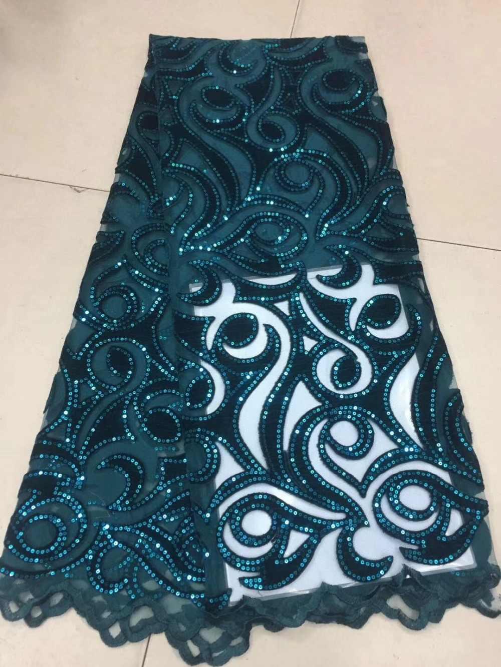 (5 ярдов/партия) 2018 новый высококачественный изумрудно-зеленый бархат Африканский кружевной французский фатин чистая кружевная ткань с блестками для вечернего платья