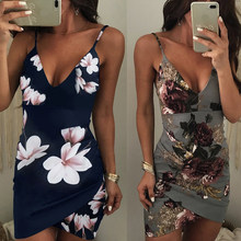 Printed Sling Fashion Slim Bag Hip Sexy Dress New Style Printed Women Dress Two Colors Robe Femme Summer Dress(China)