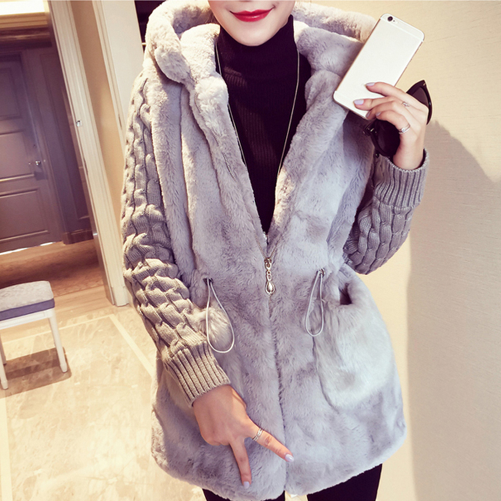 Womens   Parka   Casual Outwear Hooded Coat Winter Women Knitted patchwork plush thickened with hat coat Overcoat Woman~