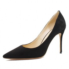 Elegant Cow Suede Leather Women Pumps High Heels Red Wedding Shoes Pointed Toe Sexy Party Big Size C030A