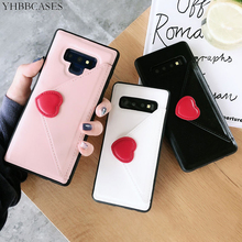 Fashion Leather Phone Cover For Samsung Galaxy S10Plus S10 Cases Sexy Red Love Heart Wallet Card Holder Case For Samsung Note 9 цена и фото