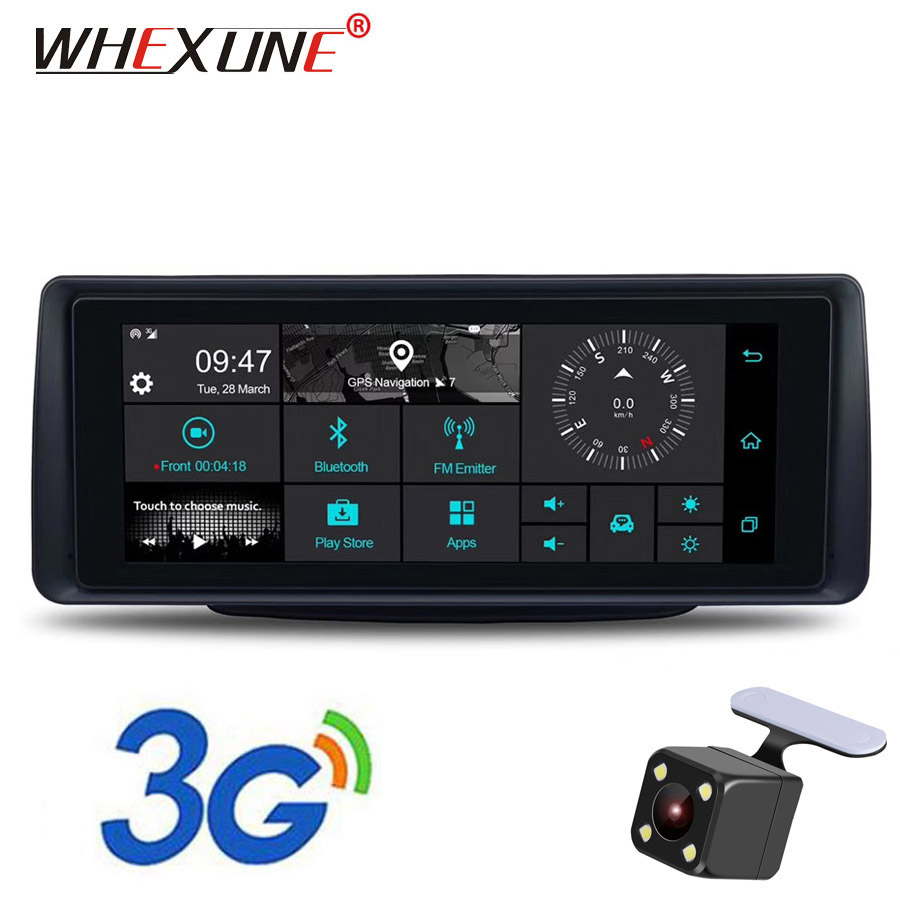 WHEXUNE 6.86 pouces voiture dvr caméra Android 3G rétroviseur GPS WIFI dvr voiture enregistreur vidéo auto double lentille dash cam FHD 1080 P