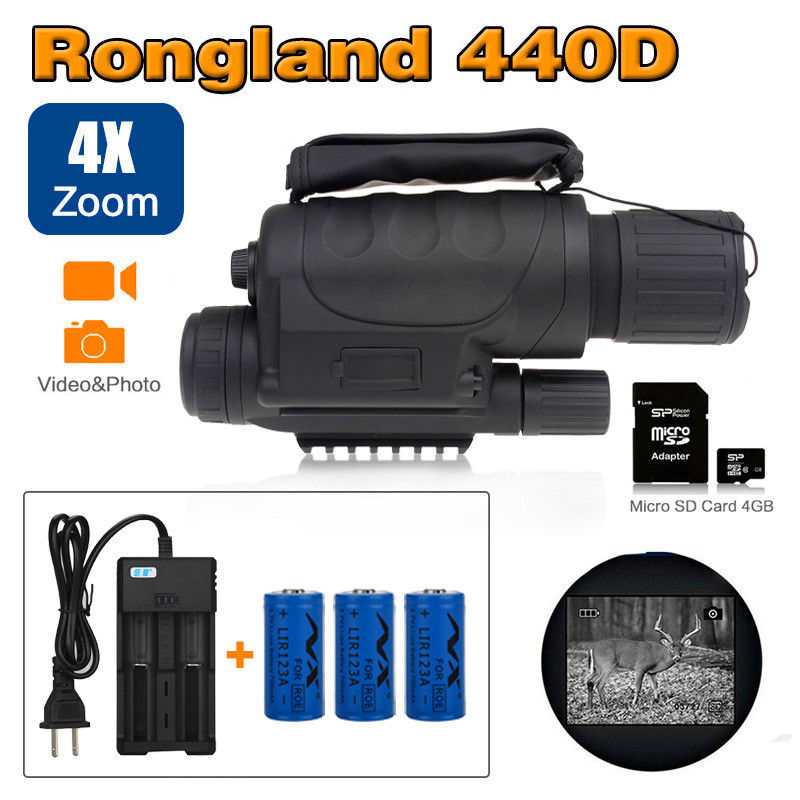 Rongland NV-440D+ Infrared Night Vision IR Monocular Telescope DVR + 3 Pcs Battery + 4GB Micro SD Card + Adaptor Free shipping