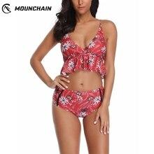 Brazilian Women Bathing Suit High Waist Swimsuit Split Flower Print Bikini