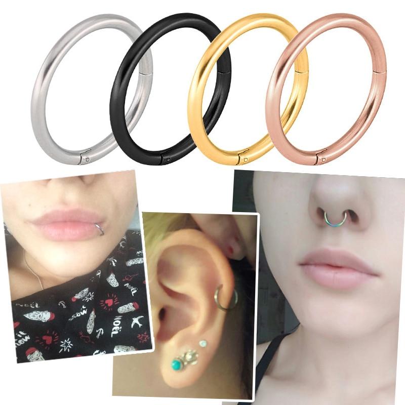 1PC Titanium 16G Nose Rings Hinged Segment Ring Septum Clicker ...