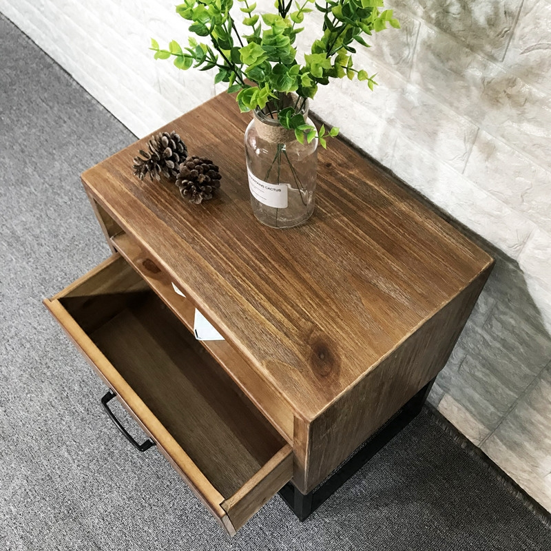Loft industrial Style American retro bedside table wrought iron wood bedside cabinet simple mini phone side table corner table - 5