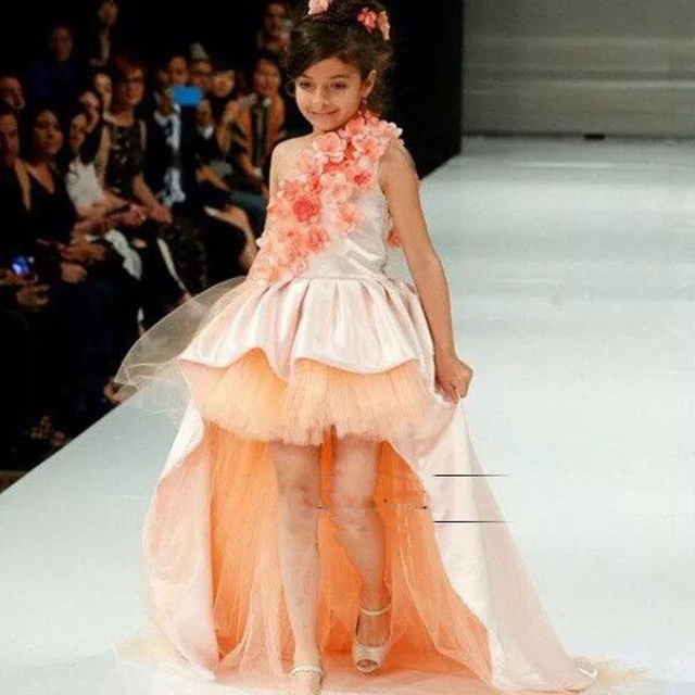 Prettiest Coral Flower Girl Princess Dress One shoulder Hi Lo Ball ...