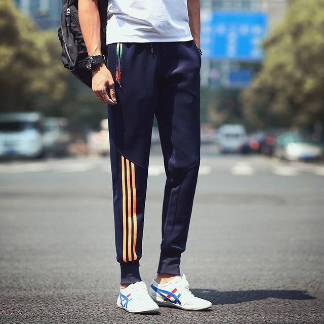 Nueva 2016 Otoño Marca Hombres Pantalones de Chándal Ropa Casual Splice Algodón A Rayas Pantalones Harén Pantalones Gimnasio Joggers Hombres Más El Tamaño