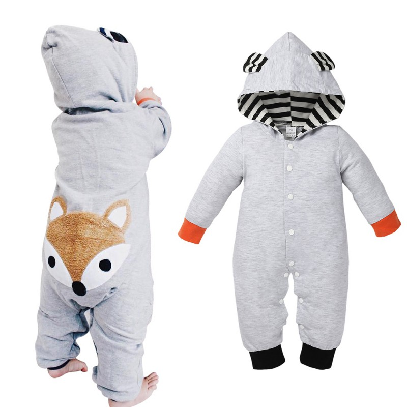 New Animal Baby Romper Fox Bebe Infant Clothing Baby Boy Girl Clothes Cute Cartoon Bear Hooded Winter Warm Jumpsuit Costume