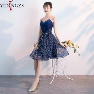 Image 4 - Short Evening Dress YIDINZGS Navy Blue Sequins Pleat V neck Formal Evening Party Dress