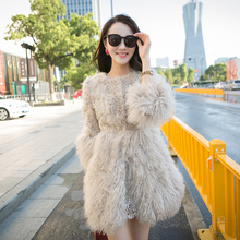 2017 new fashion Long section of beach wool coat leather female lamb real fur wool jacket Slim  Mongolia Sheep Fur outwear