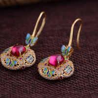 FNJ 925 argent papillon boucles d'oreilles pour femmes bijoux pendaison jaune calcédoine rouge Zircon S925 argent boucle d'oreille goutte boucle d'oreille