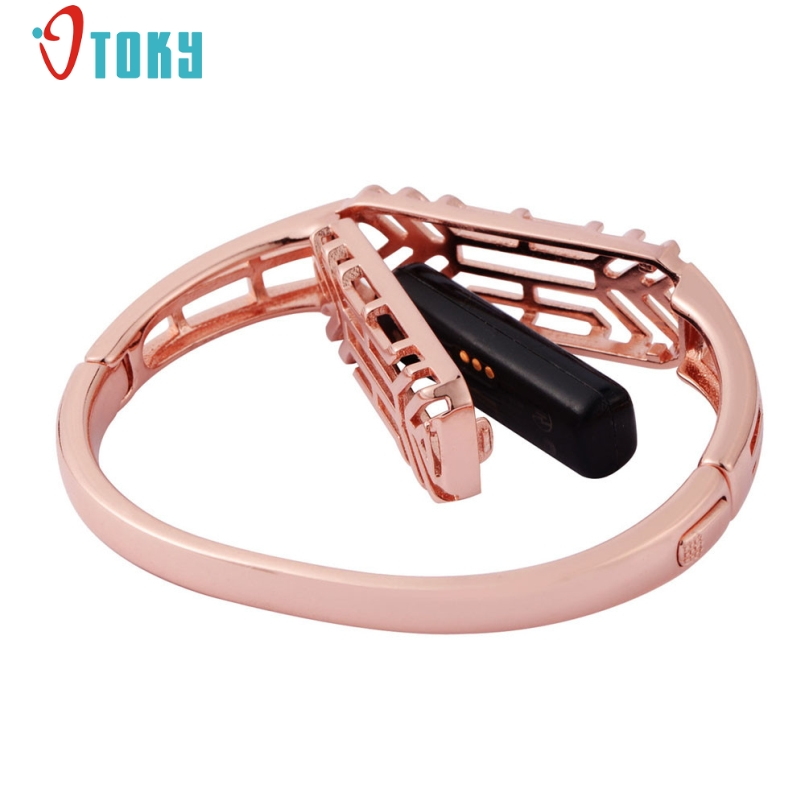 New Arrive Luxury Bangle Genuine Stainless Steel Watch Band Wrist Strap For Fitbit Flex 2 Watch Accessories C23