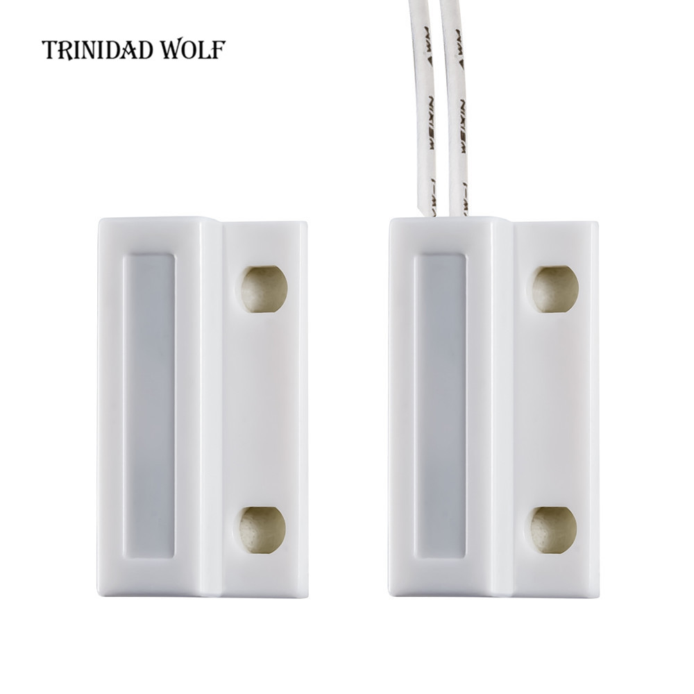 TRINIDAD WOLF Door Window Sensor NC Wired Magnetic Switch Sensor Normally Closed Alarm Door Sensor Home Alarm System Detector 10pcs lot normally closed wired door window sensor 330mm wire lengthen randomly magnetic switch home alarm system n c type