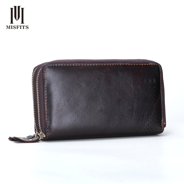 NEW Original Vintage Men Genuine Leather Wallets Brand Hollow Cowhide Multi Clutch Purse Retro Brown Wallet Male Handbags 005